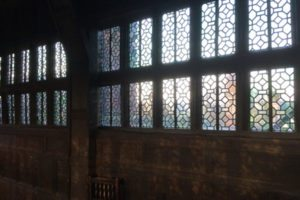 Some of the windows at Little Moreton Hall, as viewed from the Long Gallery.